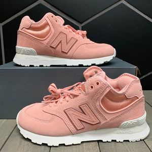 Womens New Balance 574 High Pink White Shoes